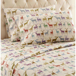 Colorful Deer Twin Micro Flannel Sheet, Set of 3