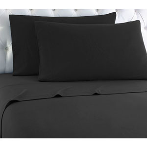 Charcoal Twin Micro Flannel Sheet, Set of 3