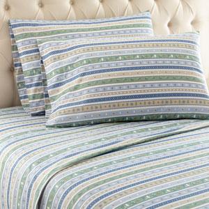 Calico Stripe Twin Micro Flannel Sheet, Set of 3
