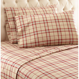 Carlton Plaid Tan Twin Micro Flannel Sheet, Set of 3