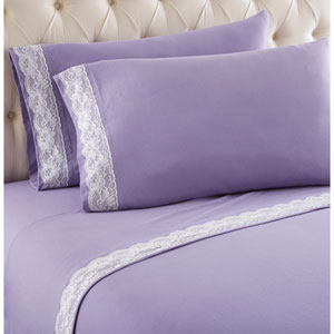 Amethyst Cal King Micro Flannel Lace Edged Sheet, Set of 4