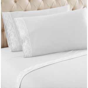 White Cal King Micro Flannel Lace Edged Sheet, Set of 4