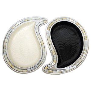 KINDWER Black and White Aluminum Yin Yang Tray Set