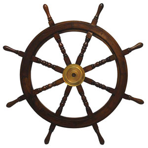 KINDWER Rich Cherry 36-Inch Wooden Ships Wheel