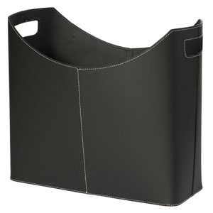 Kindwer Black Leather Magazine Basket
