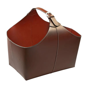 Kindwer Brown Leather Magazine Basket with Strap