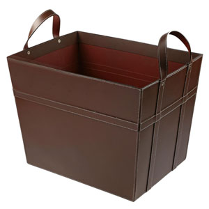 Kindwer Brown Leather Magazine Basket with Handles