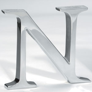 Kindwer Silver Aluminum Letter N