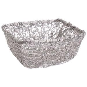 Kindwer Silver Square Twist Wire Mesh Basket