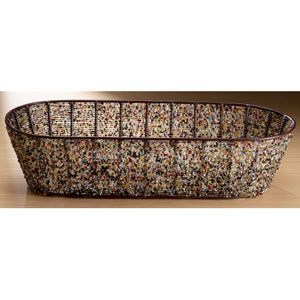 Kindwer Oval Iron Basket with Multi Color Beads