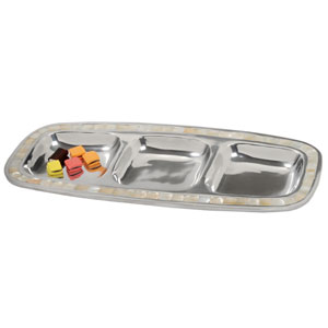 Kindwer Silver Mother of Pearl Aluminum Divided Serving Tray