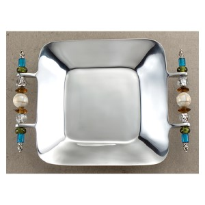 Kindwer Silver Beaded Square Serving Tray