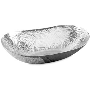 Kindwer Silver Extra Large Hammered Oval Bowl