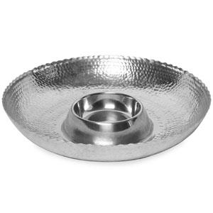 Kindwer Silver Hammered Aluminum Chip & Dip Bowl