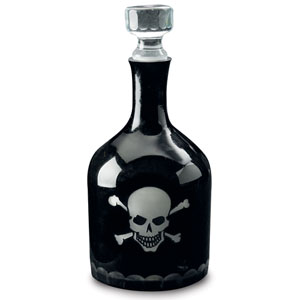 Kindwer Black Skull and Crossbones Etched Glass Decanter