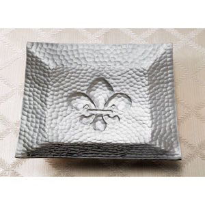 Kindwer Silver Hammered Square Fleur-dis-lis Tray