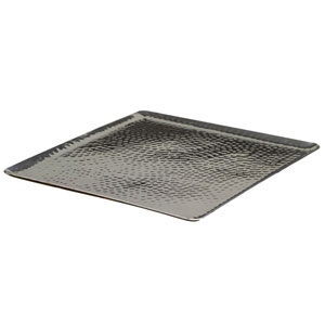 Kindwer Silver Square Hammered Aluminum Tray