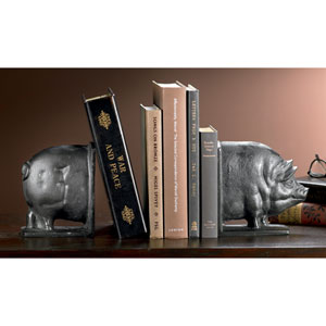 Kindwer Black Smiling Swine Cast Iron Bookends