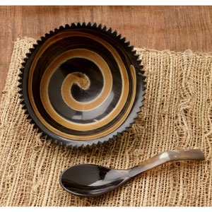 Kindwer Natural Horn Swirl Bowl with Horn Spoon