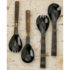 Kindwer Beige Authentic Bone and Horn Serving Utensils, Set of Four