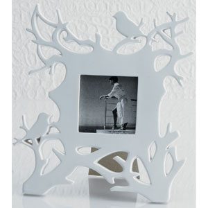 Kindwer White Robins in Branches 3 x 3-Inch Photo Frame