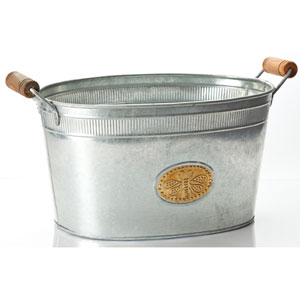 Kindwer Silver Galvanized Bumble Bee Oval Tub