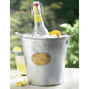 Kindwer Silver Galvanized Bumble Bee Bucket