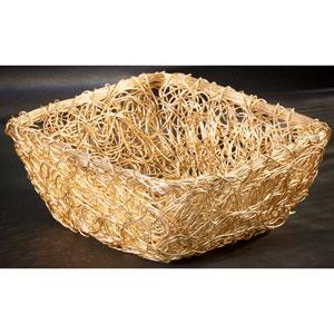 Kindwer Gold Gilded Square Twist Wire Mesh Basket