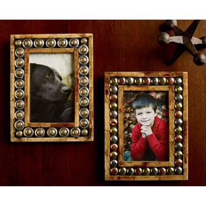 Kindwer Brown Horn and Button 4 x 6-Inch Photo Frames, Set of Two