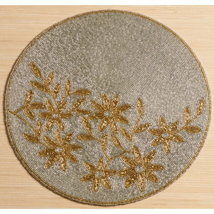 Kindwer Silver and Gold Glass Beaded Flower Placemat