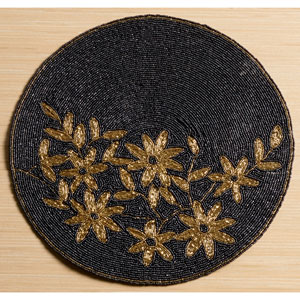 Kindwer Black Glass Beaded Gold Flower Placemat