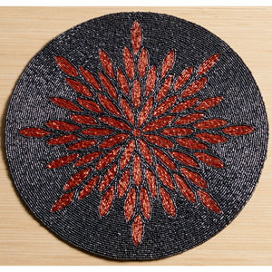 Kindwer Grey and Copper Glass Beaded Sunburst Placemat