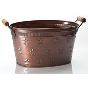 Kindwer Copper Large Fleur de Lis Oval Tub