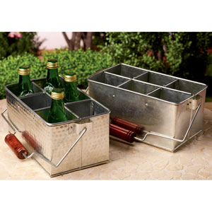 Kindwer Silver Galvanized Metal Bottle and Utensil Holders, Set of Two