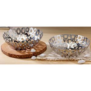 Kindwer Silver Steel Welded Squares and Ovals Baskets