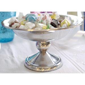 Kindwer Silver Polished Aluminum Pedestal Bowl