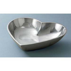 Kindwer Silver Polished Aluminum Heart Bowl