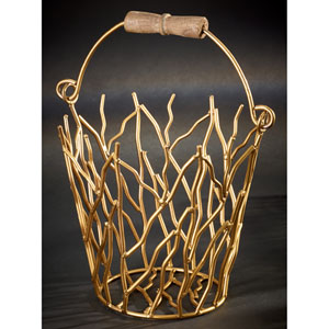 Kindwer Gold Gilded Iron Branches Bucket with Wood Handle