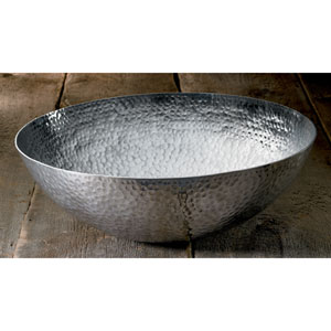 20-Inch Large Round Hammered Aluminum Bowl