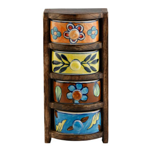 Curios Four-Drawer Brown Wood Apothecary Chest