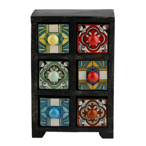 Curios Six-Drawer Black Wood Apothecary Chest
