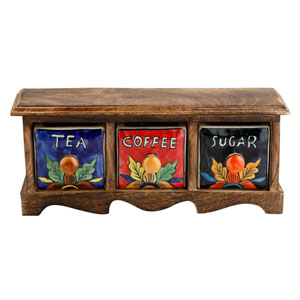 Curios Tea Coffee Sugar Three-Drawer Brown Wood Apothecary Chest