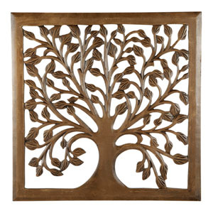 24 In. Light Brown Solaris Nine Tree of Life Wall Art