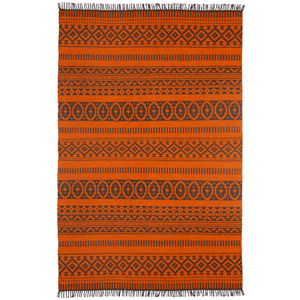 Complex Orange Geo Rectangular: 3 Ft x 5 Ft Rug