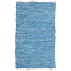 Complex Aqua Chenille Flat Weave Rectangular: 5 Ft. x 8 Ft. Rug
