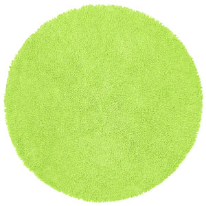 Shagadelic Chenille Shag Green Round: 3 Ft. x 3 Ft. Rug