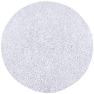 Shagadelic Chenille Shag White Round: 5 Ft. x 5 Ft. Rug