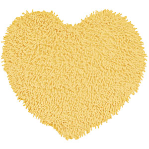 Yellow Shagadelic Chenille Twist 20-Inch x 24-Inch Heart Rug