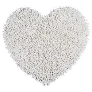 White Shagadelic Chenille Twist 20-Inch x 24-Inch Heart Rug