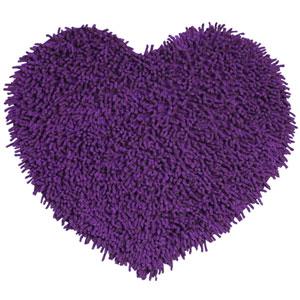 Purple Shagadelic Chenille Twist 20-Inch x 24-Inch Heart Rug